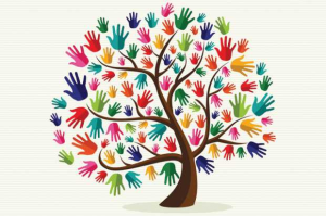 Drawing of tree with many-colored, many-sized hands for leaves