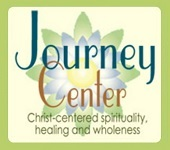 "Logo - phrases ""Journey Center"" and ""Christ-centered spirituality, healing and wholeness"" superimposed over lotus blossom"
