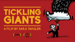 Film poster graphic - Title of film and cartoon of protagonist Bassem Youssef tickling giant foot as it tries to stomp him.