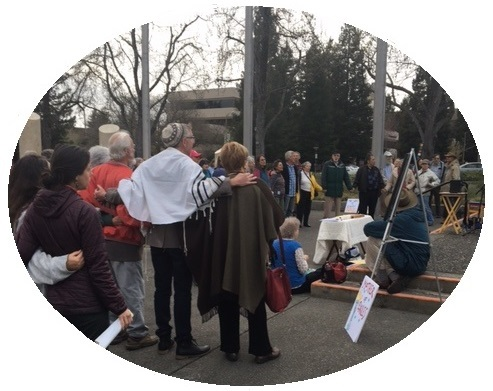 IMAGE: Photograph of interfaith action in support of Sonoma County Muslims, outside Santa Rosa City Hall - March 5, 2017.